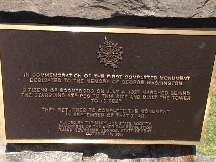 Washington Monument Plaque